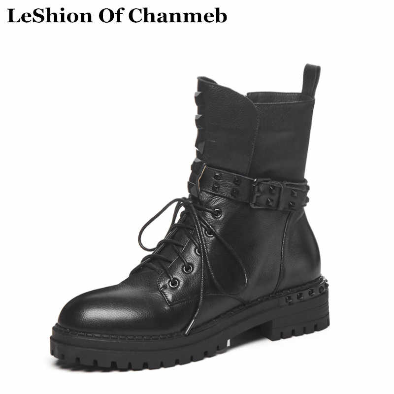 New Waterproof Platformed Dr. Martins Boots for Women Lace up Combat Boots  Ladies Rock Studded 60615e99af42