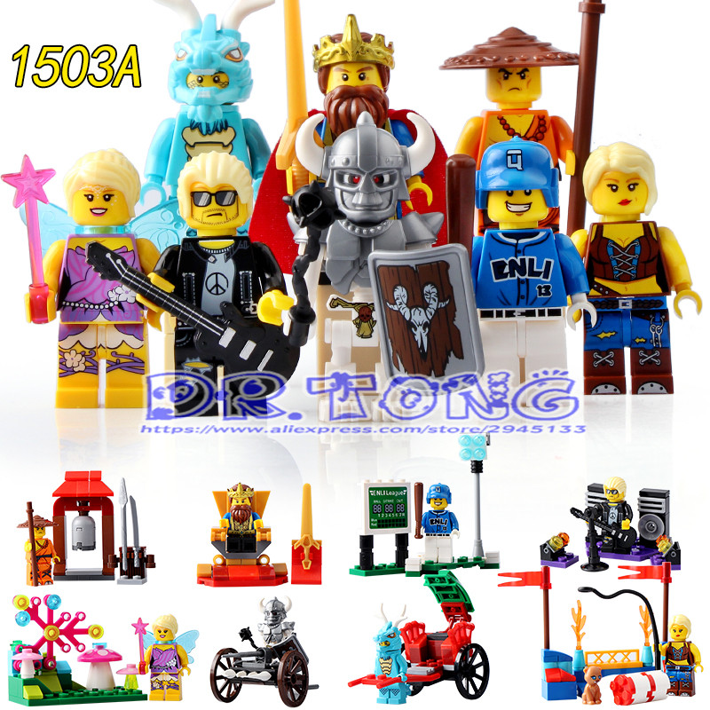 DR.TONG Enlighten 1503A King Knight Series Dragon Guy Pop Fairy Star Skeleton Warrior Monk Building Blocks Bricks Toys Gifts airsoft adults cs field game skeleton warrior skull paintball mask