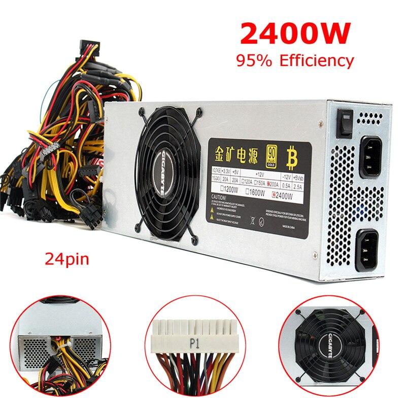 Universial 95% eficiencia BTC minero 2400 W alimentación 12 V 200a salida 24 Pasadores SATA bitcoin minería alimentación para ETH Zec