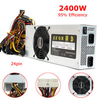 Universial 95 Efficiency BTC Miner 2400W Power Supply 12V 200A Output 24 Pin SATA Bitcoin Mining