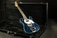 Quilted maple top semi hollow body abalone inlay bigsby bridge blue tele electric guitar free shipping