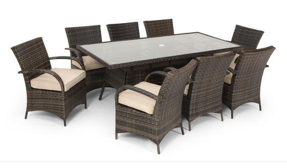 trade assurance 8 seater rattan rectangular patio dining sets outdoor restaurant furniture