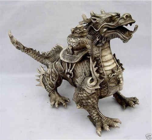 Доставка большой Тибетский серебро удачи Статуэтка дракона инструменты Свадебные украшения латунь