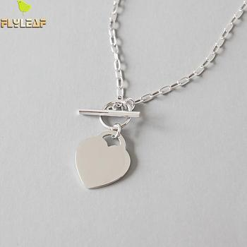 Flyleaf 925 Sterling Silver Strip Heart Necklaces & Pendants For Women Student Girl Gift Fashion Jewelry