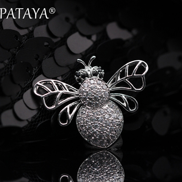 PATAYA New Arrivals Small Bee True White Gold Brooches Women Luxury Jewelry High-quality Exquisite Workmanship Accessories