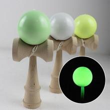 Luminous Kendama 18CM drewniana zręczna piłka do żonglerki zabawka tradycyjna żonglować piłki do gry sporty na świeżym powietrzu dorosłe prezenty świąteczne