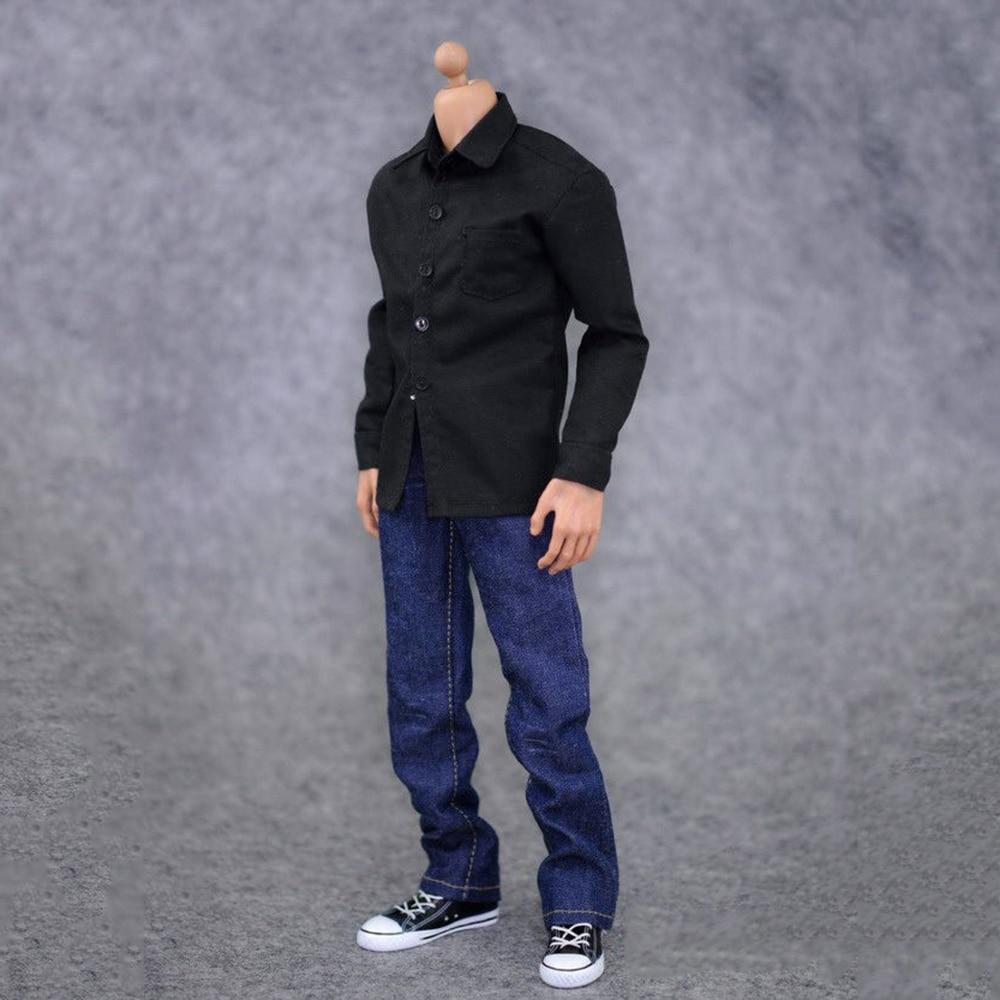 1:6 Male Clothes Action Figure Accessoies Black Shirt & Jeans Suit Soldier Clothes Set For 12 Inch Male Tony Figure Doll
