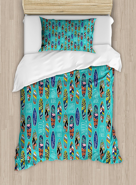 Duvet Cover Set , Aloha Hawaii Live Free Ocean Water Sports Inspired Pattern Coastal Inspirations, 4 Piece Bedding Set