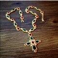 Famoso diseño de cristal Austriaco joyas de la cadena de Metal de color perla piedra Cruz Colgante suéter Largo collar de La Vendimia Barroca joyería