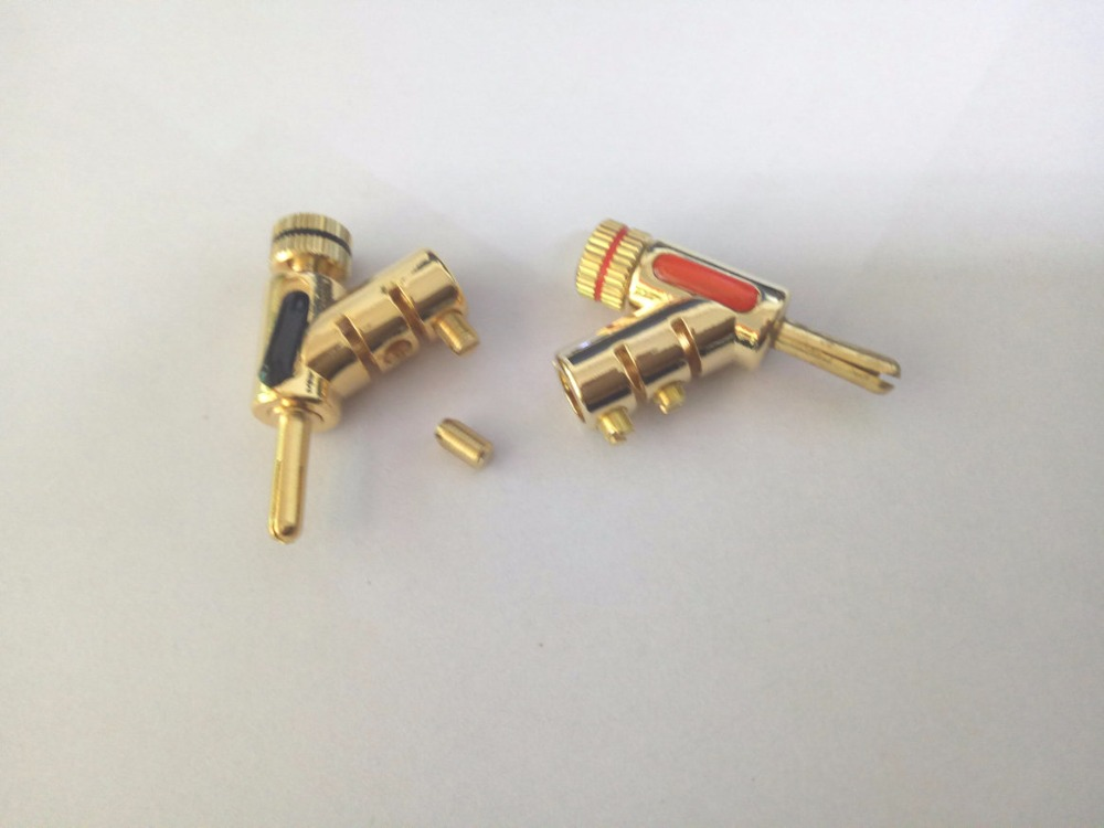 10pcs High quality Gold Locking Speaker Cable 4mm Banana Plug