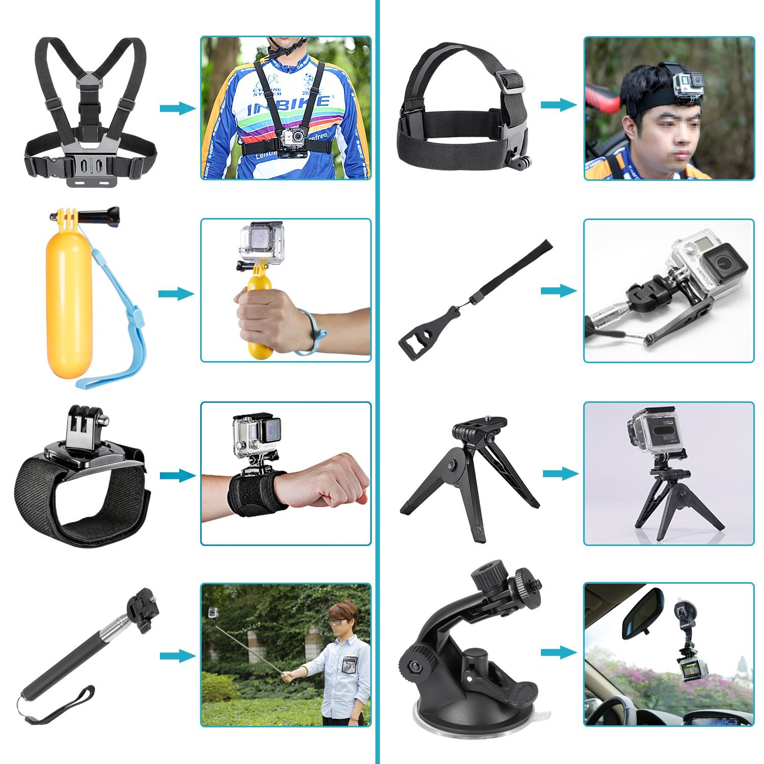 Galleria fotografica CES-24-in-1 Sport Accessory Kit for GoPro Hero4 Session Hero Series for Xiaomi Yi in Skiing Climbing Bike Camping Diving and CES