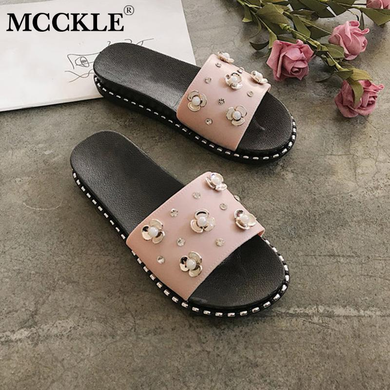 MCCKLE New Women Crystal Flat Slippers Ladies Flowers Pear Slip On Peep Toe Casual Shoes Female Fashion Comfort Footwear SummerMCCKLE New Women Crystal Flat Slippers Ladies Flowers Pear Slip On Peep Toe Casual Shoes Female Fashion Comfort Footwear Summer
