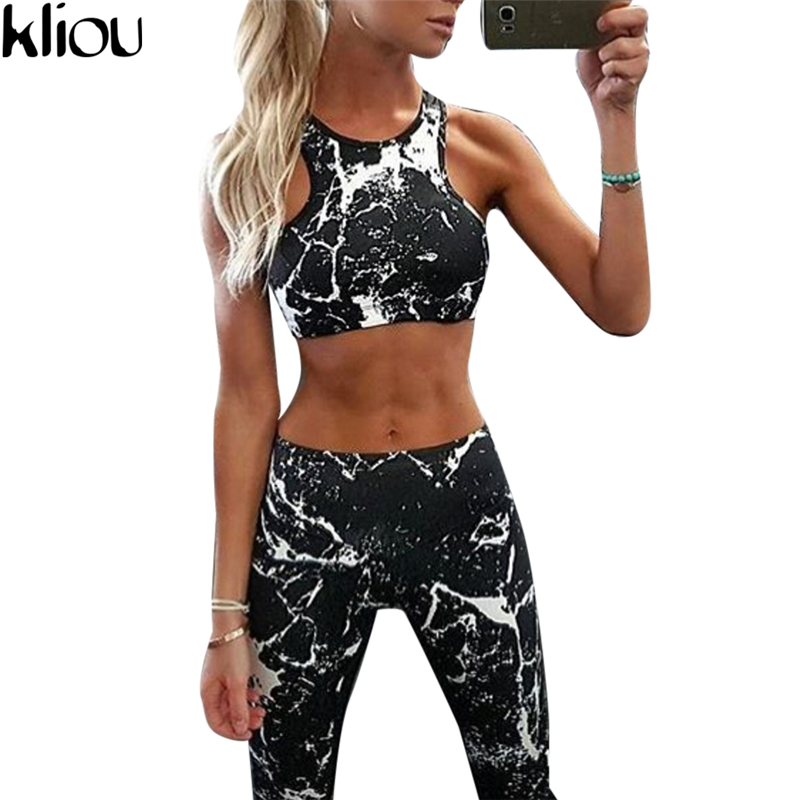 Kliou 2017 New Suit Women Tracksuit Set Ink Painting Printed Fitness Set Sportswear Leggings Tight Jumpsuits Sportwear Clothing