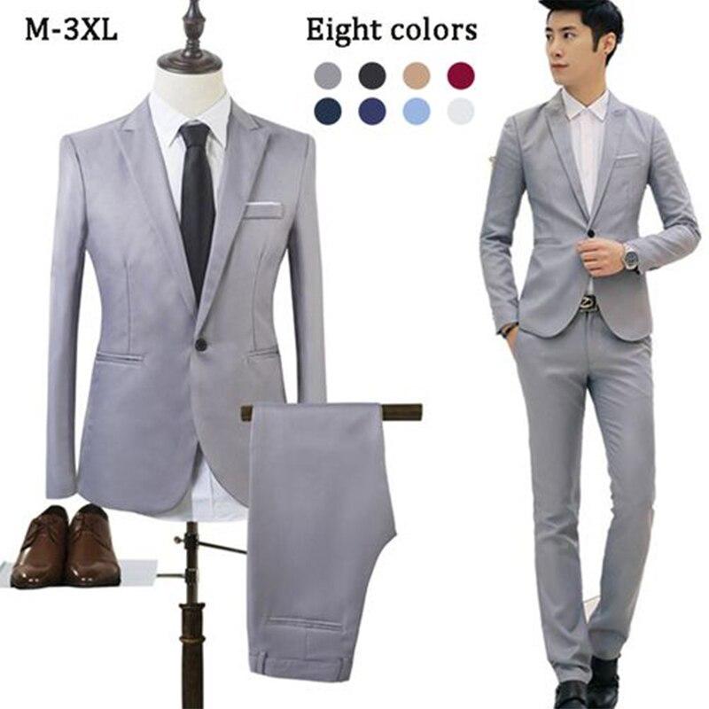 Men'S Fashion Business Casual One Button Dress Two-Piece Men'S Groom Wedding Dress Clothing Men'S Business Slim Suit Suit