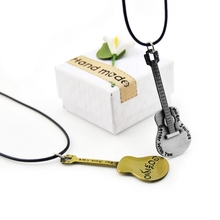 Original Novelty Leather Chain Retro Gold Guitar Choker Necklace For Women Vintage Bar Rock Cale Pendant Jewelry Gift