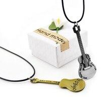 Original Novelty Leather Chain Retro Gold Guitar Choker Necklace For Women Vintage Bar Rock Cale Pendant Necklace Jewelry Gift vintage bar choker necklace for women