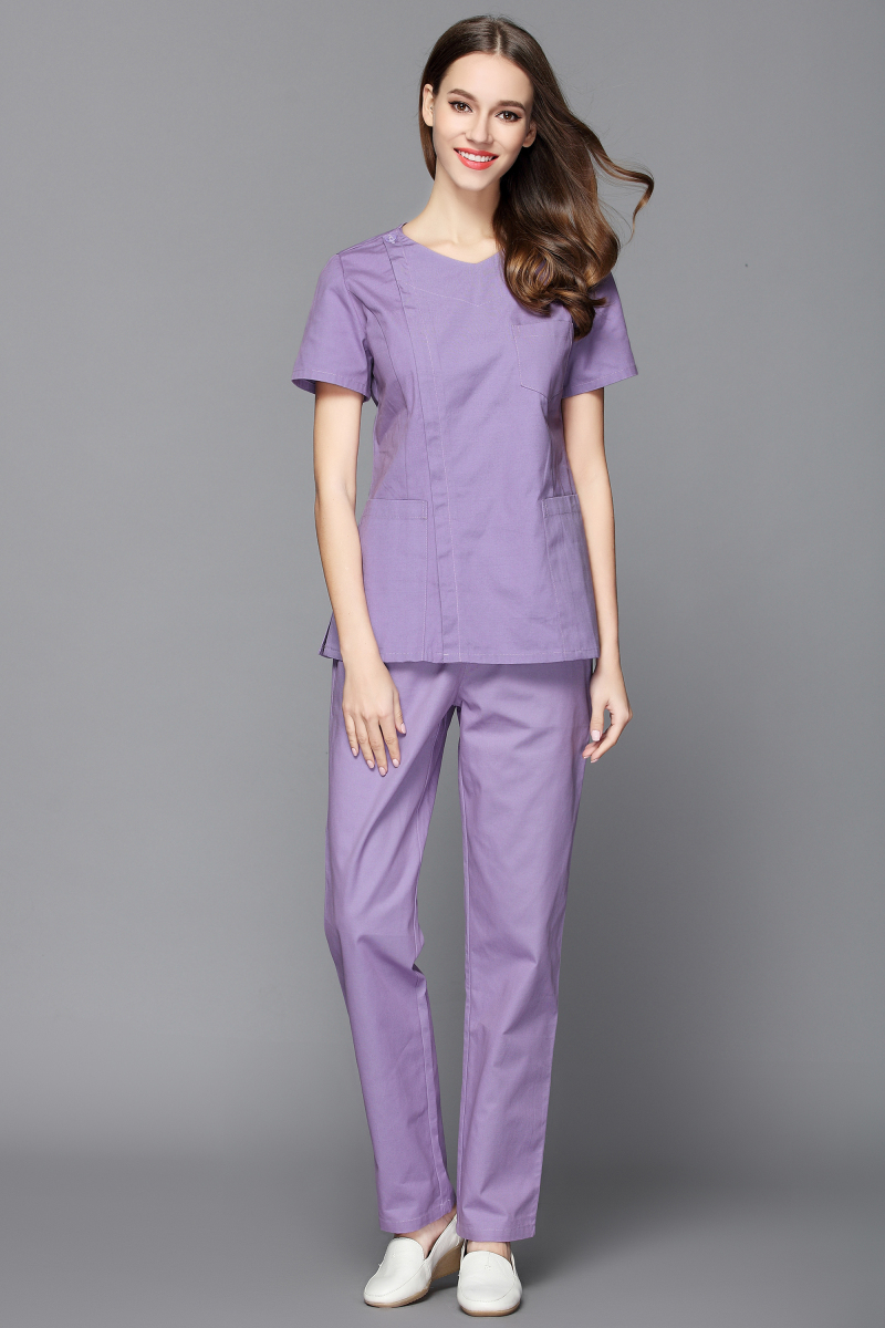 Women 39 s 100 cotton V neck design side opening medical scrub set nurse and health care slim fit uniform dental clinic clothes in Scrub Sets from Novelty amp Special Use