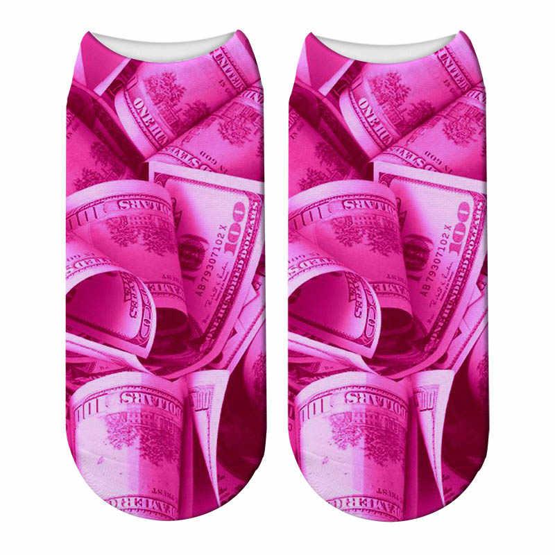 Nowy 3D drukowane śmieszne Polka Dot różowy skarpetki Leopard Blush różowy skarpetki damskie piwonie i róże Low Cut kostki krótkie Spaort skarpetki