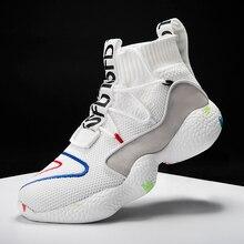 Męskie obuwie dla mężczyzn trampki letnie Tenis Masculino oddychające Krasovki sznurowane kolorowa skarpeta buty Chaussures Pour Hommes
