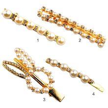 Women Hair Clip Minimalist Side Bangs DuckbillMetallic Gold Glitter Rhinestone Faux Pearl Hairpins Styling Rabbit Ears Barrette