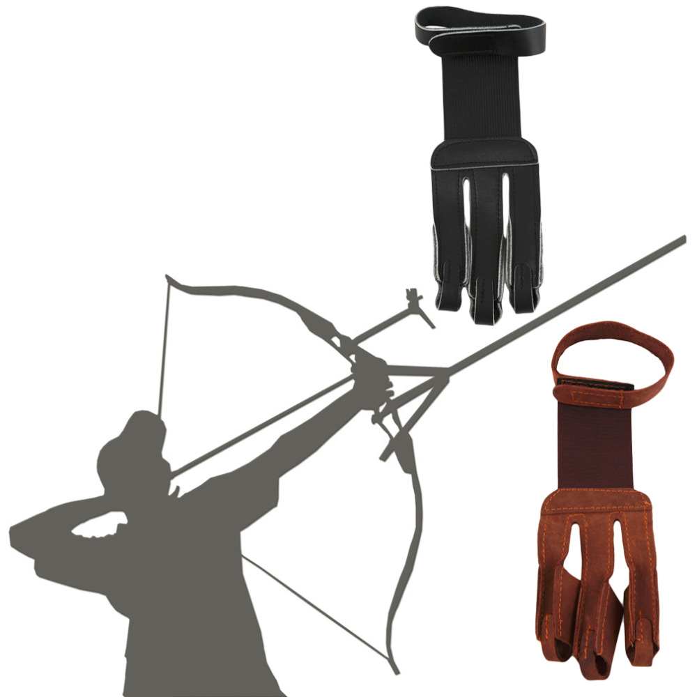 Archery Protect font b Glove b font 3 Fingers Pull Bow arrow Leather Shooting font b