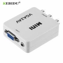 KEBIDU HD Mini VGA AV RCA ses dönüştürücü VGA2AV/CVBS adaptörü ile 3.5mm PC TV HD bilgisayar TV VGA AV dönüştürücü