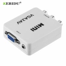 KEBIDU HD Mini VGA to AV RCA Audio Converter VGA2AV/CVBS Adapter with 3.5mm for PC to TV HD Computer to TV VGA to AV Converter