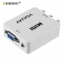 KEBIDU HD מיני VGA כדי AV RCA אודיו ממיר VGA2AV/CVBS מתאם עם 3.5mm עבור מחשב לטלוויזיה HD מחשב לטלוויזיה VGA ל AV ממיר