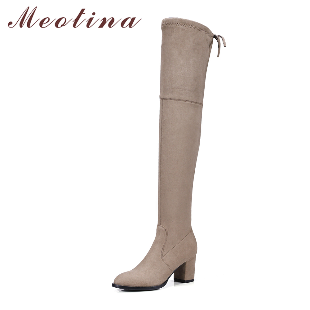 Meotina Women High Boots Female Over the Knee Boots High Heels Autumn Long Boots Lace Up Shoes Grey Big Size 34-43 Femmes bottes