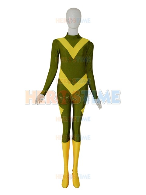 Army green and yellow superhero costume custom Fullbody spandex Zentai Suit most trendy Hallween cosplay catsuit Free Shipping