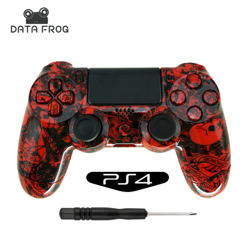 Custom Hydro Dipped Crazy Red Skull Shell for Sony PlayStation4 PS4  Controller Full Buttons Mod kit for Dualshock 4 controller
