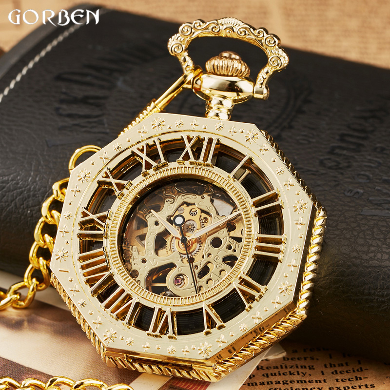 2017 New Classic Hexagonal Mechanical Pocket Watch FOB Chain Steampunk Roman Dial Skeleton Golden Hollow Steel Mens Pocket Watch russian vingtage silver soviet bolshevik mechanical fob pocket watch mens military pendant watch chain free ship