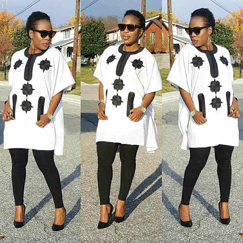 1d6ebe92cc 2018 African women clothing Africa clothes riche bazin embroidery suits  dahsiki fabric blue black lady top