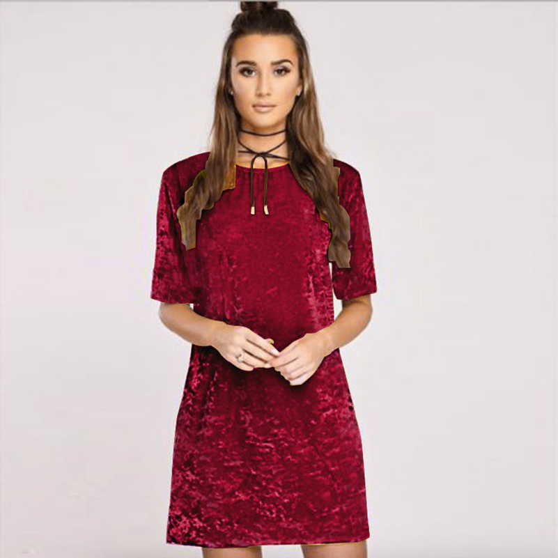 Ladies Party Sexy Mini Dresses Club Summer Style 2017 Short Sleeve Velvet Dress Evening Vestidos
