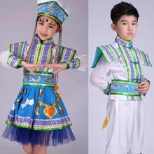 Niñas Baile folclórico chino traje niño Niños baile nacional ropa del  funcionamiento de la etapa trajes 440fd971a69