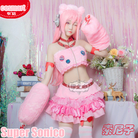 Anime Super Sonico Cosplay Pink Cute Lolita Dress Uniform Cosplay costumes full set for women NEW 2018 free shipping