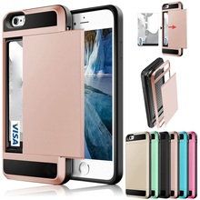 ФОТО slide card shockproof slim hybrid combo card wallet hard back phone case cover for iphone 4 5 6 7 samsung galaxy s7 s8 plus case