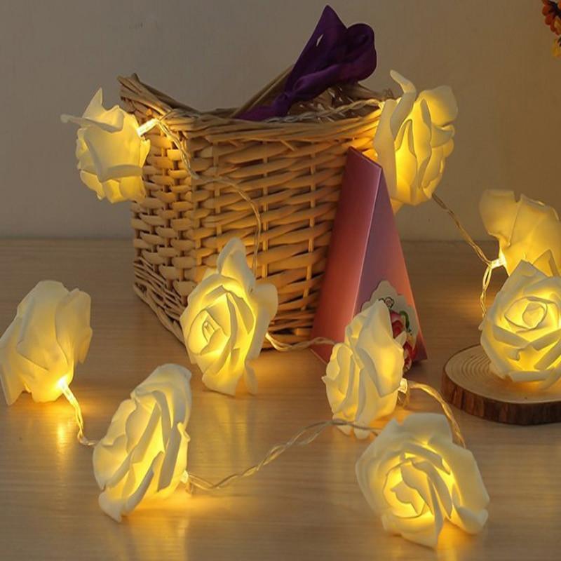 Mode AC110-240V 5 M 20 leds Liburan Pencahayaan LED Novelty 6cm Big Rose Flower Peri String Lights Wedding Party pesta Natal