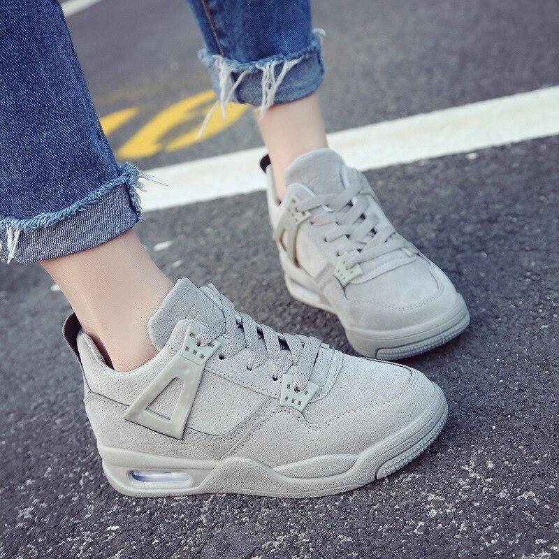 ee2cc0dc172f De Hauteur Croissante Noir gris Mode Chaussures Sneakers rose D'air Marche  Coussin Épais Sneaker Femmes ...