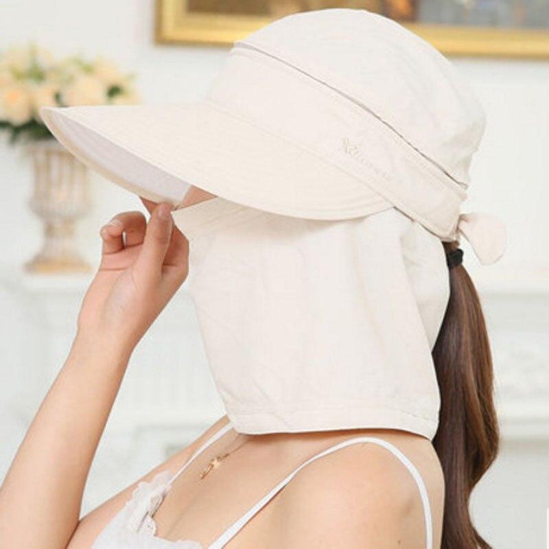 Modis Wanita Dilipat Matahari Topi UV Perlindungan Lebar Pinggiran Matahari  Perlindungan Wajah Leher Musim Panas Topi f69560fffc