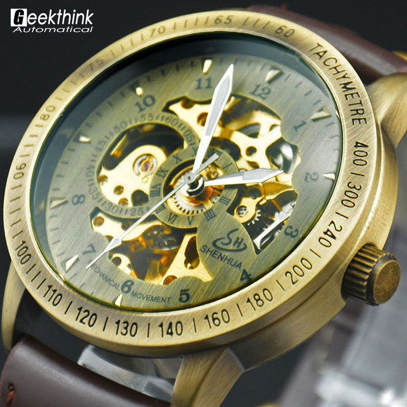Prix pour Vintage Bronze Hommes Montre-Bracelet Squelette Horloge Mâle Bracelet En Cuir Antique Steampunk Casual Automatique Squelette Mécanique Montres