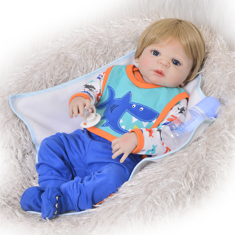 Newborn Doll Realistic 57 cm Full Silicone Baby Reborn Doll Boy Vinyl Look Real Fake Baby Toy For Kid Playmate Gift Xmas Present 22inch silicone reborn doll babies soft vinyl life like realistic newborn dolls fake baby that look real kids toy christmas gift