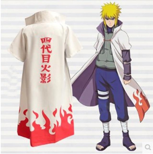 Naruto Shippuden Cosplay 4th Hokage Cloak Robe White Cape Dust Coat