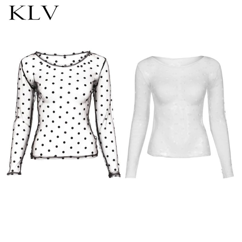 Women Long Sleeve Sexy Sheer Mesh Retro Polka Dot Crew Neck Blouse Slim Fit Solid Color Pullover Top Nigh Party Clubwear in Blouses amp Shirts from Women 39 s Clothing