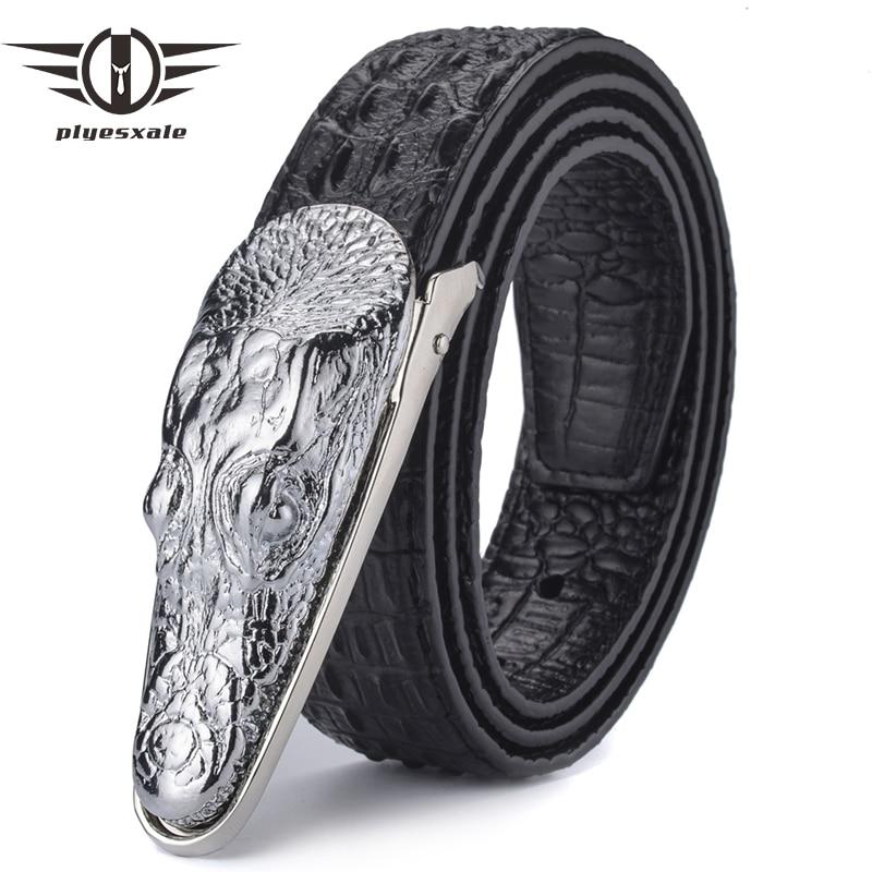 Plyesxale Leather   Belt   Men 2018 Luxury Crocodile   Belts   Men Gold Silver Bronze Metal Buckle High Quality Brand Designer   Belts   B8