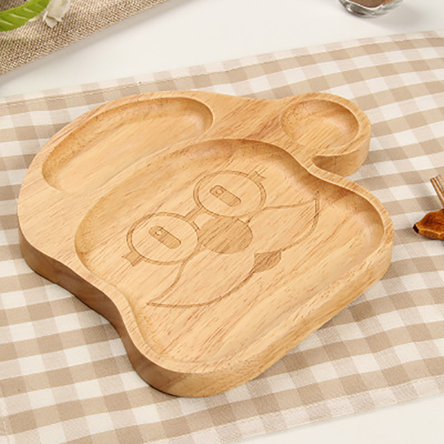 1pcs christmas dinner plates kids wooden earing utensils with spoon and fork wooden children tableware wood