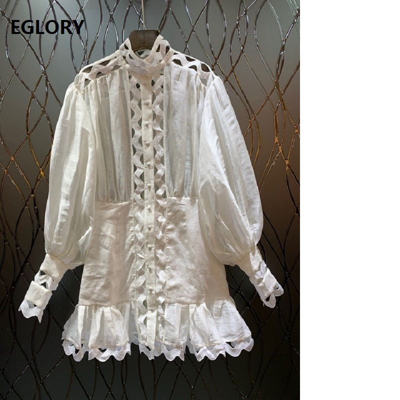 Women's Clothing Red Roosarosee Floral Embroidery Hollow-out Runway 2019 Silk Linen Tops Women Bow Collar Long Lantern Sleeve Noble Blouse Shirts