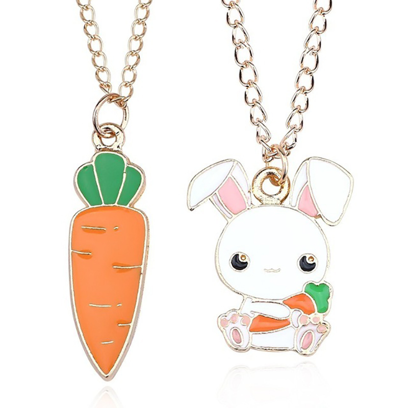 Fashion Creative DIY Cute Animal Pendant Cartoon White Rabbit Hold Carrot Necklace Gold Chain Necklace Jewelry Gift DropShipping in Pendant Necklaces from Jewelry Accessories