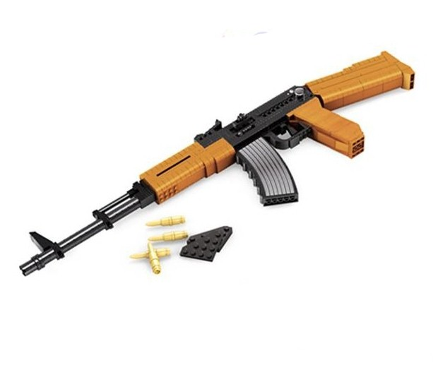 Hot sale Classic toys weapon AK 47 Gun Model 1:1 Toys Building Blocks Sets 617pcs Educational DIY Assemblage Bricks Toy [yamala]military firewire blocks soldier war weapon bricks building blocks sets classic airman toys for children diy heavy gun