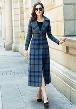 New Women's Clothing 2018 Autumn Winter Long Wool Coat Fashion Plaid Double Breasted Turn-down Collar Female Coats